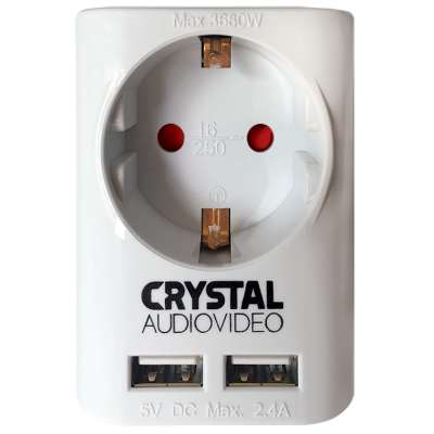 CRYSTAL AUDIO SUW-1 ΛΕΥΚΟ ΜΟΝΟΠΡΙΖΟ ΣΟΥΚΟ +2xUSB 2,4A