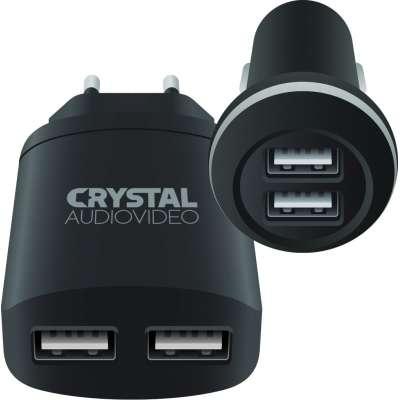 CRYSTAL AUDIO CP2-2.4 Charger's kit - 5V / 2.4A USB Car + 5V / 2A USB Wall