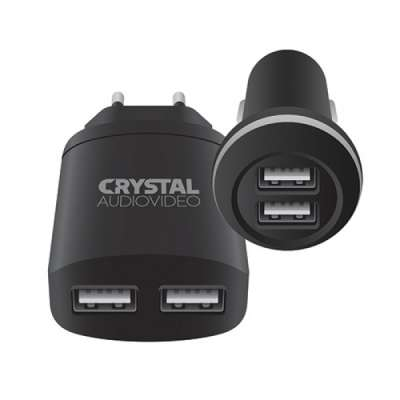 CRYSTAL AUDIO CP2-2.4 Charger's kit - 5V / 2.4A USB Car + 5V / 2A USB Wall