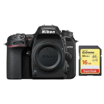 NIKON D7500 Body Black + SanDisk SD Extreme 16GB