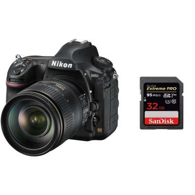 NIKON D850 + 24-120mm 4G ED VR Kit + SanDisk SD Extreme Pro 32GB 95MB/s V30 UHS-I U3